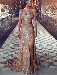 cheap -Mermaid / Trumpet Sparkle Sexy Engagement Formal Evening Dress One Shoulder Sleeveless Court Train Sequined with Sequin Split 2021