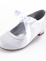 cheap -Girls' Heels Flower Girl Shoes Princess Shoes Lace Little Kids(4-7ys) Big Kids(7years +) Party & Evening Bowknot White Champagne Ivory Spring Summer