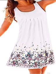 cheap -women's floral dress causal sleeveless adjustable spaghetti strap split summer beach midi dress (navy floral dress, large)