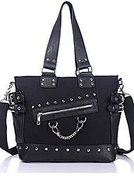 cheap -women punk handbag and purses chain rivets top handle bag black canvas hobo shoulder bag satchels wallets crossbody bag