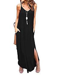 cheap -maxi dress ladies summer dress elegant sleeveless v-neck beach dress casual dress (small, black)