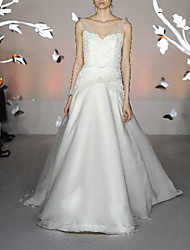 cheap -A-Line Wedding Dresses V Neck Sweep / Brush Train Satin Tulle Sleeveless Simple Luxurious with Cascading Ruffles 2021