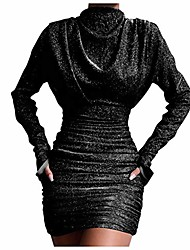 cheap -weant women's fashion sequin glitter long sleeve mini dress high neck bodycon ruched mini dress evening party dress for ladies elegant formal cocktail dress clubwear black