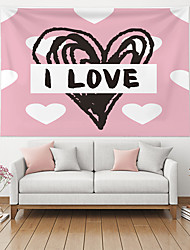 cheap -Valentine's Day Wall Tapestry Art Decor Blanket Curtain Hanging Home Bedroom Living Room Decoration Heart Graffiti