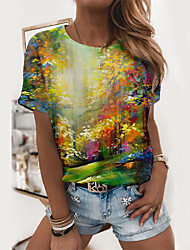 cheap -Women's T shirt Scenery Graphic Prints Print Round Neck Tops Basic Basic Top Green