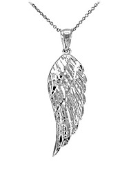 """cheap -textured sterling silver angel wing charm pendant necklace, 22"""""""