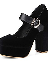 cheap -women's platform chunky high block heel pumps round toe comfort buckle strap mary jane dress shoes black