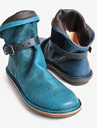 cheap -women retro leather buckle belt round toe flat short boots