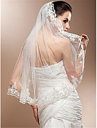 cheap -One-tier Stylish Wedding Veil Elbow Veils with Appliques Tulle