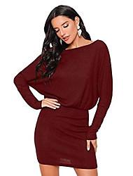 cheap -ladies elegant dresses batwing mini dress boat neckline high waist long sleeve dress stretchy dress pencil dress bordeaux xs