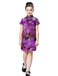 cheap -girls chinese dress in violet with colorful peony patterns (4)