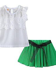 cheap -toddler girls summer outfit chiffon floral top and pleated skirt set green size 2t