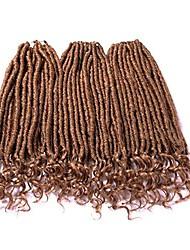 "cheap -18"" curly end dread lock crochet hair (24 roots/piece,3 pieces) loose end faux locs crochet braids goddess locs hair extension(k27)"