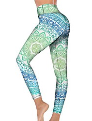 cheap -21Grams Women's High Waist Yoga Pants Cropped Leggings Tummy Control Butt Lift Breathable Light Blue Fitness Gym Workout Running Winter Sports Activewear High Elasticity