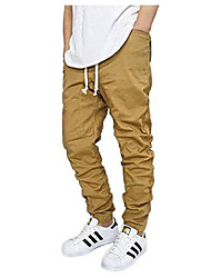 cheap -men's color twill jogger pants with spandex