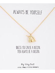 cheap -always be yourself unicorn necklace (gold plated brass)