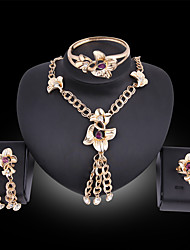 cheap -Women's Jewelry Set Bridal Jewelry Sets Tassel Fringe Flower Fashion Gold Plated Earrings Jewelry Blue / Purple For Christmas Wedding Halloween Party Evening Gift 1 set