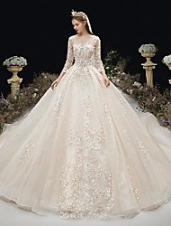 cheap -Princess Ball Gown Wedding Dresses Jewel Neck Chapel Train Lace Tulle 3/4 Length Sleeve Formal Luxurious with Beading Appliques 2020