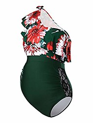 cheap -maternity tankini pregnancy swimsuit for pregnant women floral print flounces one shoulder one-piece maternity swimwear uv protection maternity women green l