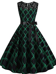 cheap -evening dress cocktail dresses women rockabilly party swing ball gown 1950s vintage elegant wedding bridesmaids qmber sleeveless solid color dress with lace seams / green2, l