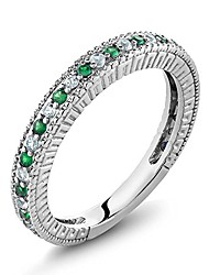 cheap -silver green simulated emerald and white created sapphire anniversary wedding band ring for women (0.48 cttw, available 5,6,7,8,9) (size 7)