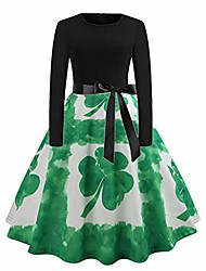 cheap -st. patrick's day dress womens long sleeve floral lace bow a line shirt evening shamrock floral print party prom swing dress vintage dresses rockabilly dresses ladies bodycon costume