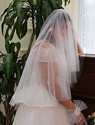 cheap -One-tier Sweet Style / Flower Style Wedding Veil Elbow Veils with Solid Tulle
