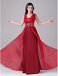 cheap -A-Line Empire Elegant Wedding Guest Formal Evening Dress Scoop Neck Sleeveless Floor Length Chiffon with Beading Tier 2021