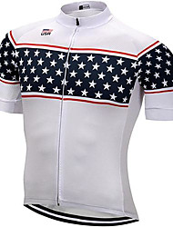 cheap -21Grams Men's Short Sleeve Cycling Jersey Summer Polyester White Stars Bike Jersey Mountain Bike MTB Road Bike Cycling Quick Dry Breathable Sports Clothing Apparel / Athletic