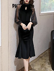 cheap -Mermaid / Trumpet Little Black Dress Elegant Party Wear Cocktail Party Dress High Neck Long Sleeve Knee Length Velvet with Pleats 2020