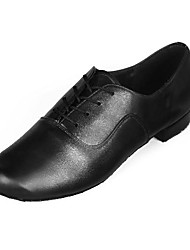 cheap -Men's Latin Shoes Ballroom Shoes Line Dance Heel Low Heel Black Lace-up