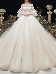 cheap -Princess Ball Gown Wedding Dresses Off Shoulder Chapel Train Lace Tulle 3/4 Length Sleeve Formal Romantic Luxurious with Pleats Appliques 2021