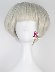 cheap -Synthetic Wig Grainne kinky Straight Bob With Bangs Wig Short Grey Synthetic Hair 12 inch Women's Cool Fluffy Gray