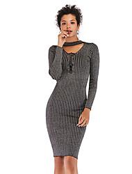 cheap -Women's Sheath Dress Knee Length Dress Long Sleeve Solid Color Patchwork Spring Elegant Cotton 2021 Gray M L XL