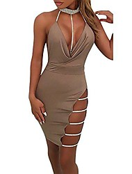 cheap -sexy mini dress deep v neck halter backless choker slit sequin bodycon short skirt party prom cocktail slim gown  (l, khaki)