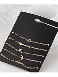 cheap -5pcs Women's Tennis Bracelet Pendant Bracelet Classic Moon Star Fashion Rhinestone Bracelet Jewelry Gold For Christmas Halloween Gift Festival