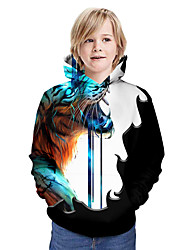 cheap -Kids Boys' Active Tiger Graphic 3D Animal Print Long Sleeve Hoodie & Sweatshirt Blue