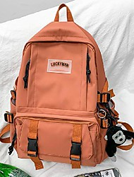 cheap -Women's Unisex Nylon Special Material School Bag Rucksack Commuter Backpack Large Capacity Waterproof Buttons Zipper Solid Color Sports & Outdoor Daily Backpack White Black Red Orange Green