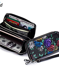 cheap -women print national style leather long wallet card holder
