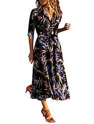cheap -Women's Swing Dress Midi Dress Black / Yellow Gray White Black / Blue Long Sleeve Pattern Spring Summer Elegant & Luxurious 2021 S M L XL XXL XXXL