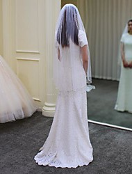 cheap -One-tier Comtemporary / Stylish Wedding Veil Elbow Veils with Faux Pearl / Solid Tulle