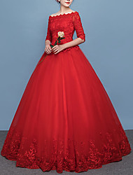 cheap -Princess Ball Gown Wedding Dresses Off Shoulder Floor Length Lace Tulle Half Sleeve Formal Romantic Red with Pleats Appliques 2020