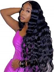cheap -human hair lace front wig free part style malaysian hair body wave black wig 130% density classic women fashion women's short long medium length human hair lace wig clytie / very long