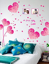 cheap -valentine's day pink purple lovely heart dandelion photo frame quotes removable wall stickers pvc art decals home decoration