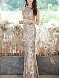 cheap -Mermaid / Trumpet Glittering Sexy Wedding Guest Formal Evening Dress Halter Neck Sleeveless Floor Length Sequined with Sequin 2021