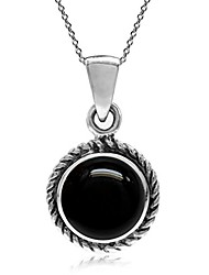 cheap -created black onyx  silver rope solitaire pendant with 18 inch chain necklace