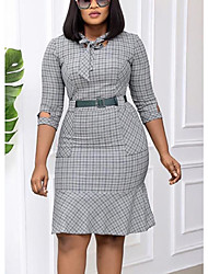 cheap -Women's Plus Size Dresses Shift Dress Knee Length Dress Half Sleeve Houndstooth Ruched Patchwork Vintage Winter / Going out / Slim / Bow