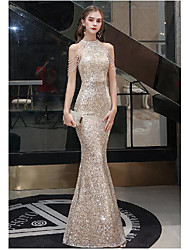 cheap -Mermaid / Trumpet Sparkle bodycon Engagement Prom Valentine's Day Dress Halter Neck Sleeveless Floor Length Sequined with Sequin Tassel 2021