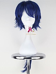 cheap -Synthetic Wig Cosplay Wig Straight Asymmetrical With Bangs Wig Medium Length Blue Synthetic Hair 28 inch Men's Fashionable Design Cosplay Soft Blue