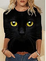 cheap -Women's Plus Size Tops Blouse Print Animal Large Size Round Neck Long Sleeve Big Size